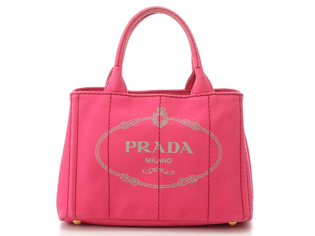 PRADA プラダ バッグ カナパ ハンドバッグ カナパミニ ピンク キャンバス B2439G 【432】【中古】【大黒屋】