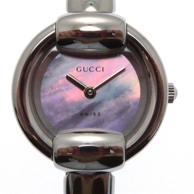 GUCCI グッチ 1400L レディース腕時計 クオーツ ピンクシェル文字盤 【472】【大黒屋】:質屋 大黒屋
