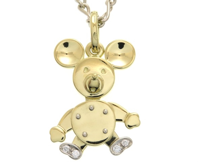 Pomellato ポメラート 貴金属・宝石 ネックレス マウスモチーフ K18イエローゴールド ホワイトゴールド ダイヤモンド 29.6g 【205】【中古】【大黒屋】