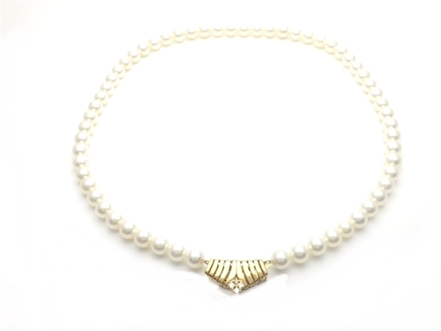 【送料無料】TASAKI タサキ パール ファッションネックレス K18×ダイヤ0.11カラット 真珠:約7~7.5mm 【437】【中古】【大黒屋】