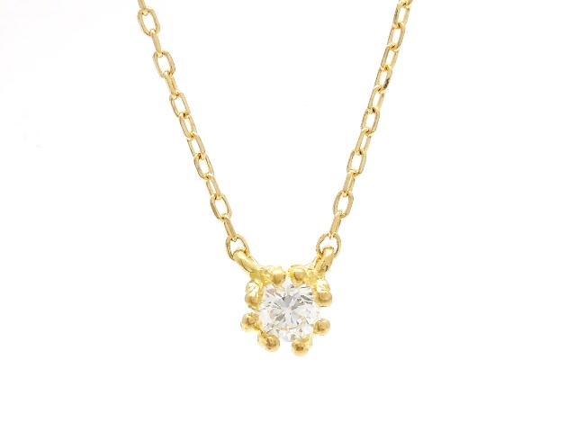 AHKAH アーカー 貴金属・宝石 ダイヤネックレス イエローゴールド K18 ダイヤモンド 0.046ct 0.8g 【200】【中古】【大黒屋】