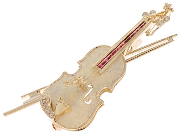【送料無料】JEWELRY ノンブランドジュエリー ブローチ バイオリン K18 ルビー ダイヤモンド R0.52 D0.07 11.1g【434】【中古】【大黒屋】