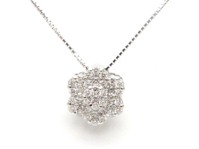 JEWELRY ノンブランドジュエリー ダイヤモンド デザインネックレス K18ホワイトゴールド PT900 プラチナ 【437】【中古】【大黒屋】