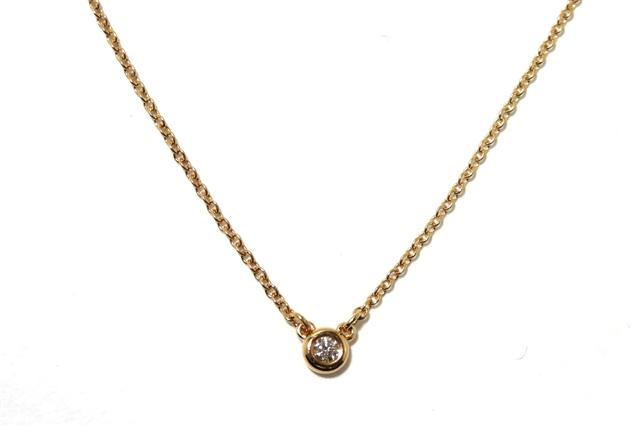 【送料無料】TIFFANY&CO バイザヤードネックレス  ダイヤモンド 18Kピンクゴールド 【472】AH【中古】【大黒屋】