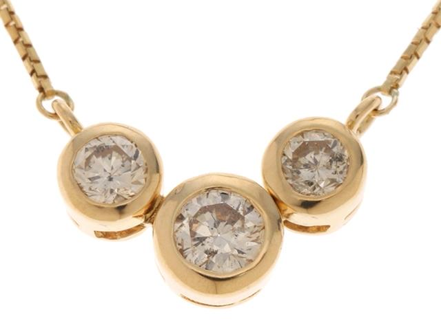 JEWELRY ノンブランド イエローゴールド ダイヤモンド ネックレス K18 D0.50 3.1g【430】【中古】【大黒屋】