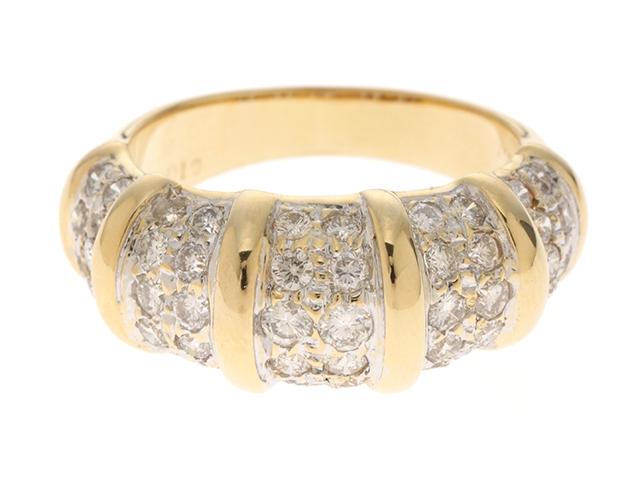 JEWELRY ノーブランドジュエリー 指輪 リング K18 イエローゴールド ホワイトゴールド ダイヤモンド 10号 【474】【中古】【大黒屋】