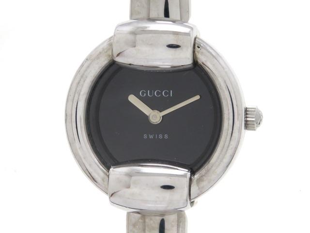 GUCCI グッチ 1400L レディース 女性用腕時計 ステンレス シルバー ブラック 【474】【中古】【大黒屋】