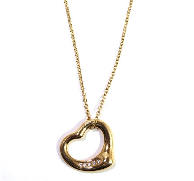 【送料無料】TIFFANY&CO  オープンハートネックレス 5Pダイヤモンド 18Kピンクゴールド【472】AH【中古】【大黒屋】