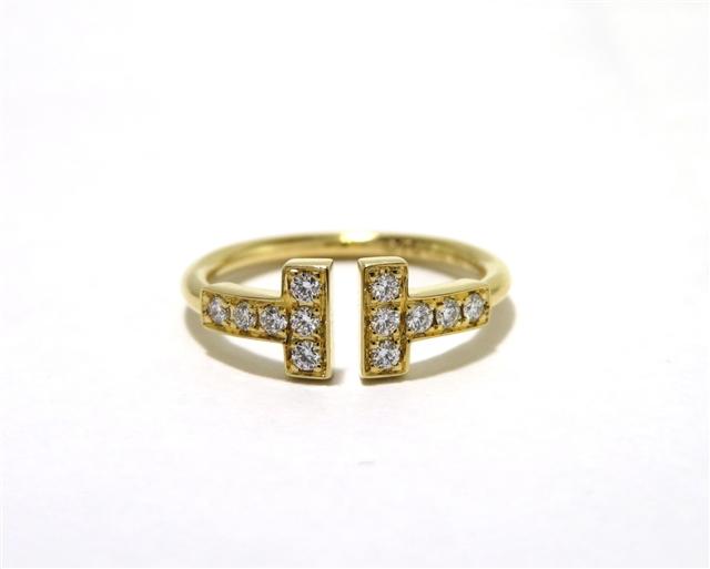 【送料無料】TIFFANY&CO  Tワイヤーダイヤモンドリング 18Kイエローゴールド ダイヤモンド 約6.5号【472】AH【中古】【大黒屋】