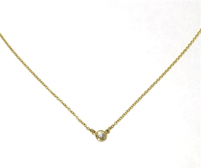 【送料無料】TIFFANY&CO バイザヤードネックレス 18Kイエローゴールド ダイヤモンド【472】AH【中古】【大黒屋】