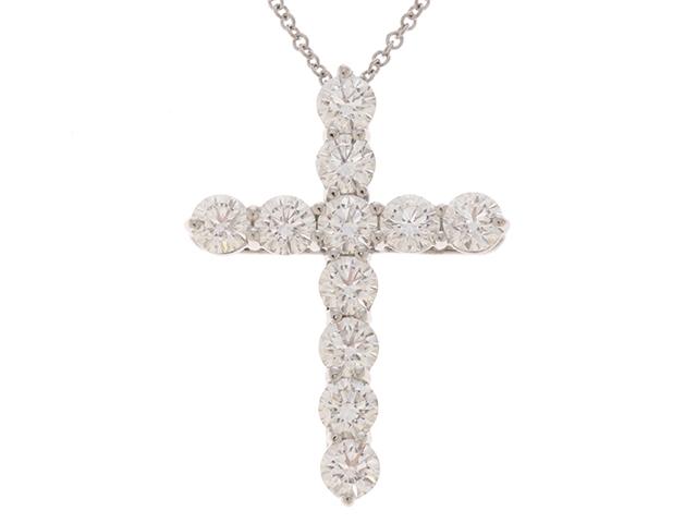 【送料無料】TIFFANY&CO ティファニー ラージクロス ネックレス PT950 ダイヤモンド 【460】【中古】【大黒屋】