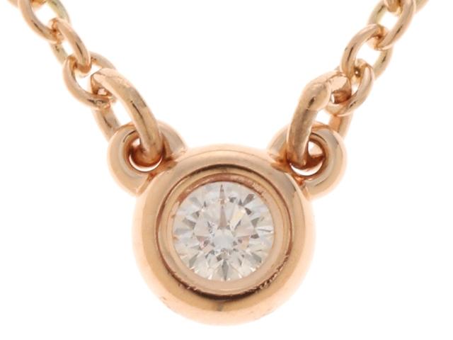 TIFFANY&CO  ティファニー  ネックレス バイザヤード K18 ピンクゴールド ダイヤモンド 【474】【中古】【大黒屋】