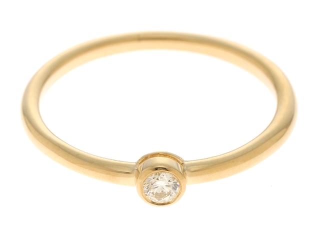 【送料無料】AHKAH アーカー ジェーン リング 指輪 K18YG 1P ダイヤモンド 0.05ct 10号 【460】【中古】【大黒屋】