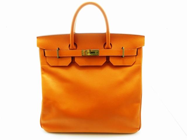 HERMES エルメス ハンドバッグ オータクロア40 オレンジ ヴォーエプソン ゴールド金具 □K刻印 【472】【中古】【大黒屋】