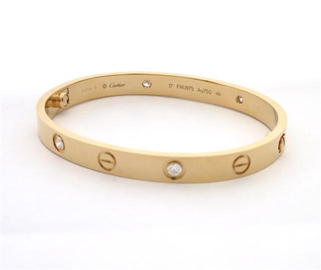 【送料無料】Cartier カルティエ ブレスレット ラブブレスハーフ K18ピンクゴールド ダイヤモンド YI【472】【】【大黒屋】