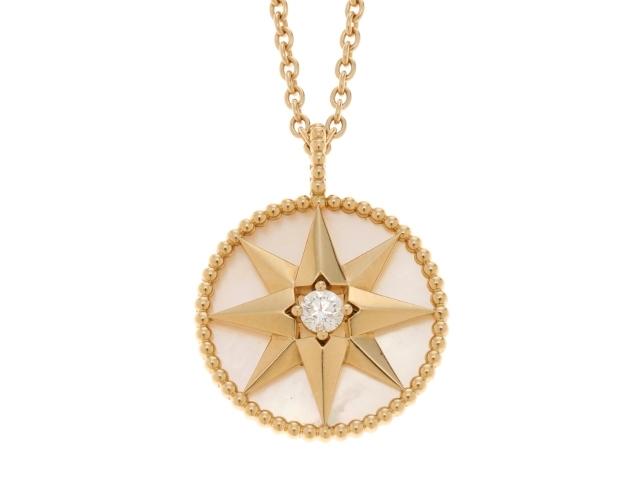 Dior ディオール ローズデヴァン イエローゴールド 白蝶貝 ダイヤモンド1P ネックレス YG WMP 1PD 13.2g 箱付き 【433】【中古】【大黒屋】