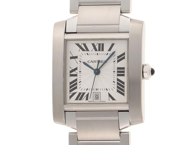 【送料無料】Cartier カルティエ 時計 タンクフランセーズLM W51002Q3 オートマチック シルバーギョウシェ【432】【中古】【大黒屋】