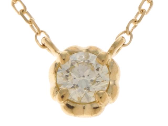 【送料無料】AHKAH アーカー ダイヤモンド ネックレス ティアネックレス 一粒ジュエリー YG D 0.8g【434】【中古】【大黒屋】