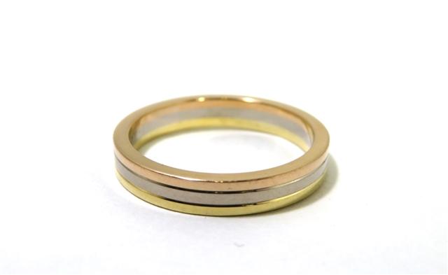 Cartier カルティエ 貴金属・宝石 指輪 リング トリニティバンドリング K18YG PG WG 3カラー 約5.1g #56 B4052200 CT【472】【中古】【大黒屋】