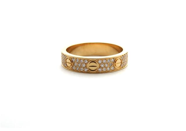 Cartier カルティエ リング ミニラブリング ピンクゴールド パヴェダイヤモンド 47号 SJ【472】【中古】【大黒屋】