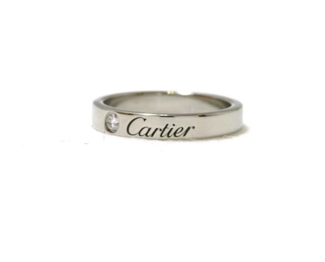 【送料無料】Cartier カルティエ 貴金属・宝石 指輪 リング C ドゥ カルティエ ウェディングリング エングレーブドリング PT950 プラチナ 1ポイントダイヤモンド 約4.3g 47号 CT【472】【中古】【大黒屋】