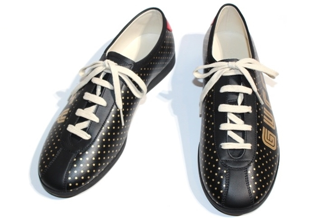 GUCCI グッチ スニーカー Guccy Falacer Sneaker  メンズ8ハーフ 約27.5cm ブラック ゴールド プリント レザー【200】【中古】【大黒屋】