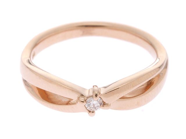 4℃ 貴金属・宝石 リング K18PG ピンクゴールド D ダイヤモンド 3.3g #8【433】【中古】【大黒屋】