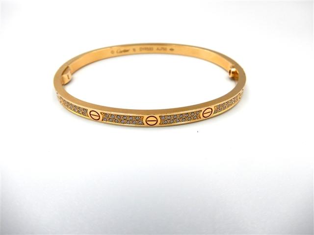 【送料無料】Cartier カルティエ ラブブレスSM ブレスレット フルダイヤモンド PG ピンクゴールド 16.8g 16号 N6710700 【432】【】【大黒屋】