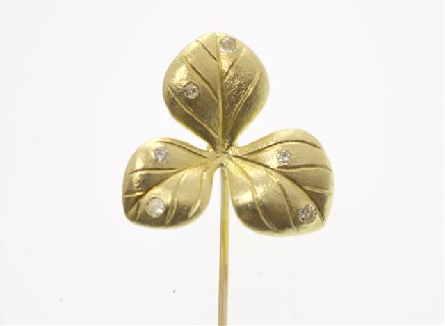 JEWELRY 貴金属・宝石 ブローチ イエロゴールド  ダイヤモンド K18/D0.13 【433】【中古】【大黒屋】