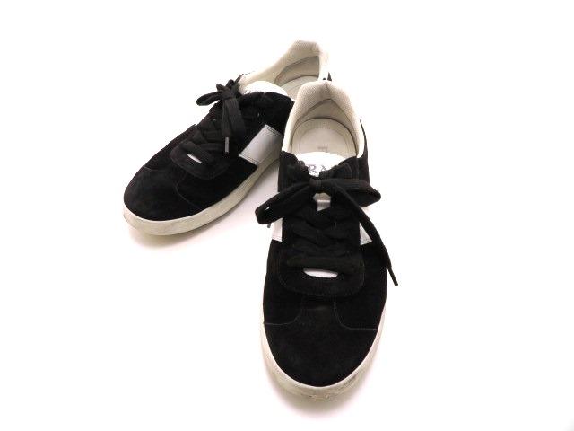 PRADA プラダ スニーカー スエード/カーフ ブラック/ホワイト メンズ8 【432】【中古】【大黒屋】