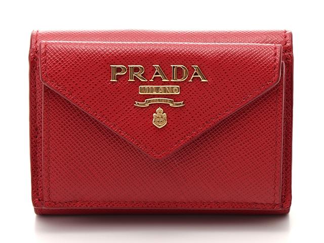 【送料無料】PRADA プラダ サイフ・小物 三つ折財布 財布 コンパクト三つ折財布 レッド 赤 サフィアーノ 【436】【中古】【大黒屋】