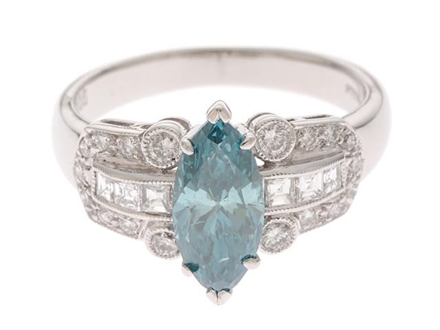 JEWELRY ノンブランド リング プラチナ900 ブルーダイヤモンド1.206ct ダイヤモンド0.43ct 11号 6.1g 【205】【中古】【大黒屋】