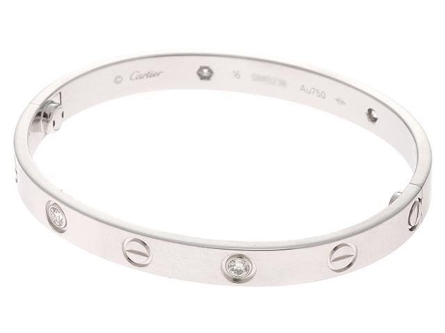 【送料無料】Cartier カルティエ ラブブレス ブレスレット ラブハーフダイヤモンド WG D 30.5g #16 新型【434】【中古】【大黒屋】