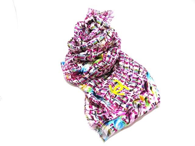 CHANEL シャネル  衣料品 スカーフ ピンク マルチカラー シルク【472】【中古】【大黒屋】