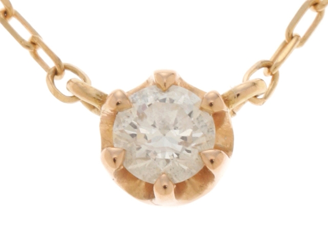4℃ ヨンドシー 貴金属・宝石 ネックレス K18PG ピンクゴールド ダイヤモンド 【431】【中古】【大黒屋】