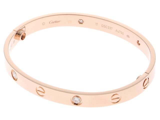 【送料無料】Cartier カルティエ ラブブレスレット ハーフダイヤモンド PG ピンクゴールド 新型 17号 【460】【中古】【大黒屋】