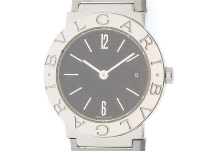 BVLGARI ブルガリ BB26SSD ブルガリ ブルガリ ブラック文字盤 SS ステンレス クオーツ 旧型 レディース 時計【204】【中古】【大黒屋】