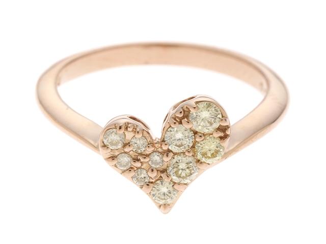 【送料無料】エステール リング 指輪 ハート K18ピンクゴールド ダイヤモンド 0.27ct 9号 【460】【中古】【大黒屋】