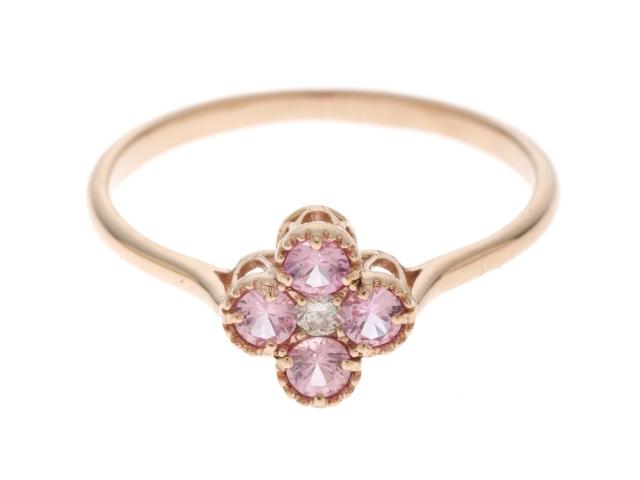 【送料無料】JEWELRY ノンブランドジュエリー ピンク色石 ダイヤモンド フラワー リング K18PG 0.30 D0.02 1.4g #12【434】【中古】【大黒屋】