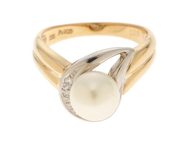 【送料無料】JEWELRY ノンブランドジュエリー リング 指輪 K18/PT900 ゴールド/プラチナ パール 真珠 ダイヤモンド 0.08ct 12号 【460】【中古】【大黒屋】