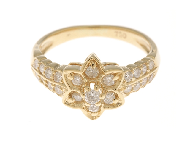 【送料無料】JEWELRY ノンブランドジュエリー リング 指輪 K18 ゴールド ダイヤモンド 3号 【460】【中古】【大黒屋】