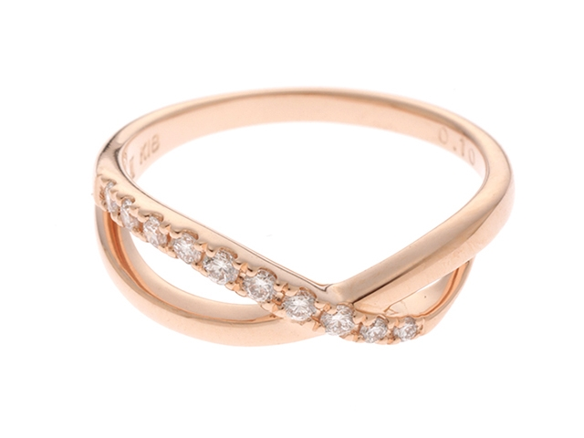【送料無料】VENDOME AOYAMA ヴァンドーム青山 リング 指輪 K18PG ピンクゴールド ダイヤモンド 0.10ct 7号 【460】【中古】【大黒屋】