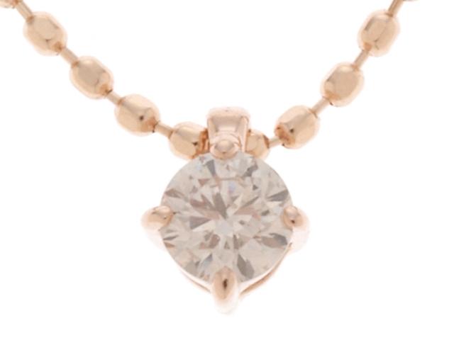 JEWELRY ノンブランド ピンクゴールド ダイヤモンド ネックレス K14PG D0.10 1.2g【430】【中古】【大黒屋】