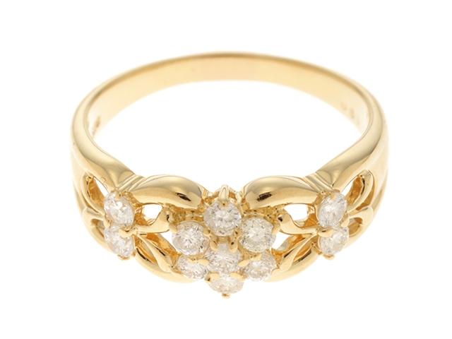 ノンブランドジュエリー リング 指輪 K18YG イエローゴールド ダイヤモンド 16.5号 【474】【中古】【大黒屋】