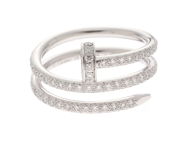 Cartier リング ジュストアンクルリング K18ホワイトゴールド ダイヤモンド 表記サイズ48号 B4211100【204】【中古】【大黒屋】