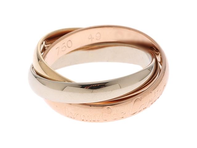 Cartier カルティエ トリニティ リング 指輪 3カラー K18PG K18YG K18WG ピンクゴールド イエローゴールド ホワイトゴールド 49号 【474【中古】【大黒屋】