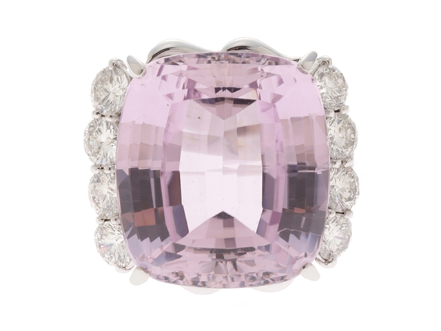 JEWELRY クンツァイト ダイヤモンド リング PT900/KZ36.3/D2.34/21.8g/#14【435】【中古】【大黒屋】