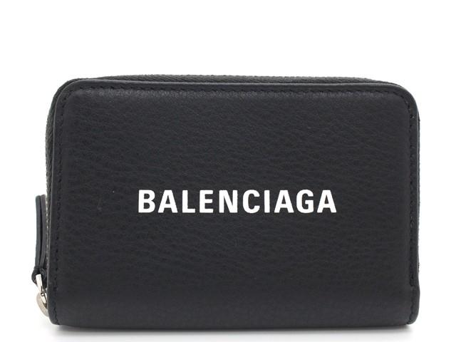 BALENCIAGA バレンシアガ エヴリデイ コインケース 小銭入れ ブラック レザー 【474】【中古】【大黒屋】