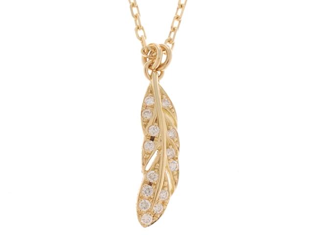 【送料無料】AHKAH アーカー ウイングスイングネックレス Sサイズ ゴールド ダイヤモンド0.05ct 【460】【中古】【大黒屋】