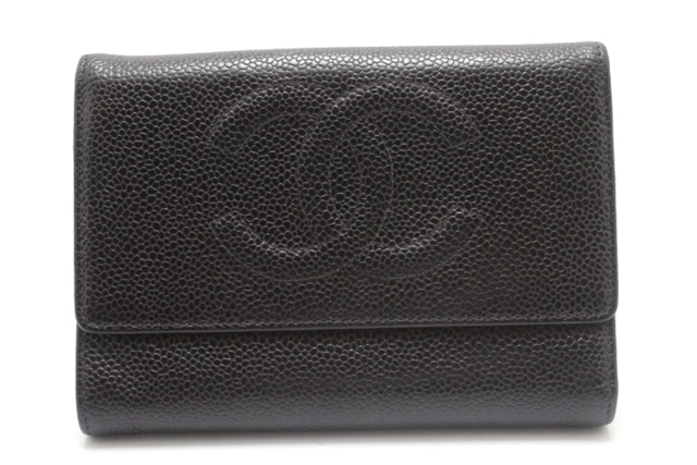 【送料無料】CHANEL シャネル 三つ折財布 財布 A13225 ブラック キャビアスキン【460】【中古】【大黒屋】